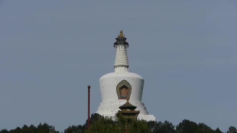 panoramic view of BeiJing BeiHai Park White Tower & Tibet Tibetan Buddhism Live Action