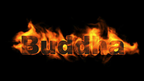 buddha,fire word Animation