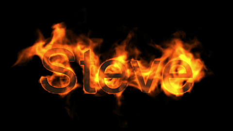 Steve,name,fire word Animation