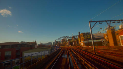 Timelapse and hyperlapse views of train and boat transportation in London, UK Footage