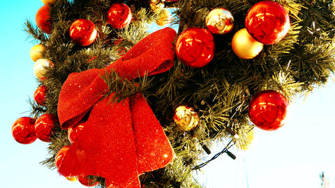 Xmas. Three close-ups. Red ribbon and Christmas decorations Footage