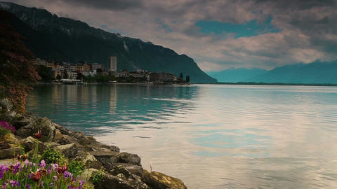A panoramic view of Lake Geneva in the quaint city of Montreux, Switzerland Footage