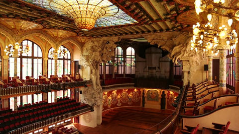 Wide angle panning shot of the famous Palau de la Musica Catalana in Barcelona,  Footage