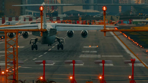 London City Airport - Ultra closeup showing the landing of a short-haul airliner Footage