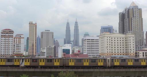 Panorama of Kuala Lumpur and moving trains, Malaysia Footage