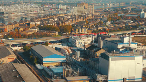 Aerial view of a large industrial complex in the docklands site of London, Engla Footage