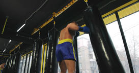 Boxer training punching bag 4k video. Fighter fulfills jab cross punch series Footage