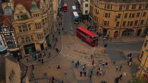 Top down wide angle view of the Oxford city center in England, UK Footage