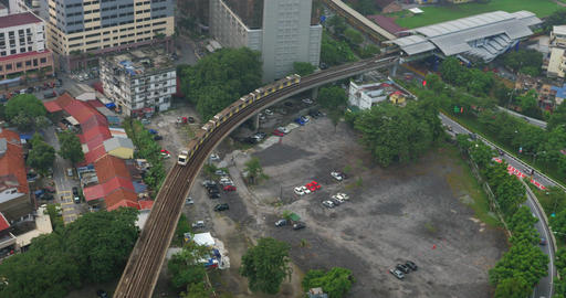 Daytime panorama of city Kuala Lumpur, Malaysia with railway with a passing trai Footage