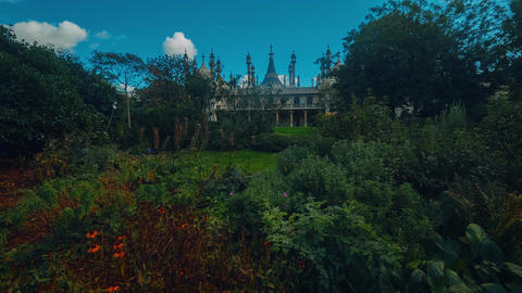 Wide angle tilting shot of the famous Royal Pavilion in Brighton, England, UK Live Action