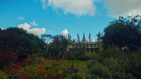 Wide angle panning shot of the Royal Pavilion in Brighton, England, UK on a sunn Live Action