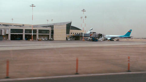 Tracking shot of terminal 3 at Ben Gurion international airport Footage