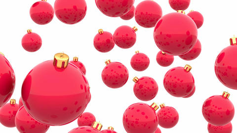 Red glossy Christmas balls looping 3D animation Animation