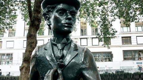 London. Statue of Charlie Chaplin Footage