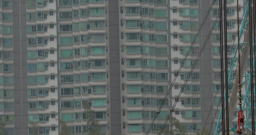 Block of flats and working building crane Footage