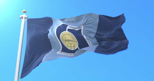 Flag of Garden Grove city, in the state of California, United States - loop Animation