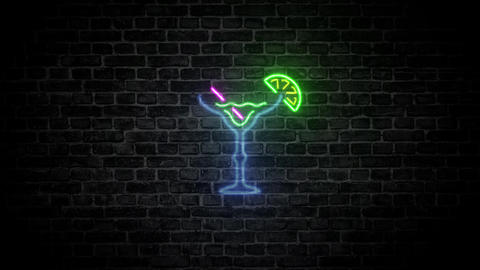 Tropical cocktail Margarita drink bar light bar neon sign bar cocktail wall light wall neon sign Animation