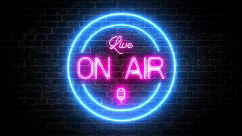 Microphone On air stream light live recording studio stream neon led stream On air wall light wall Animation