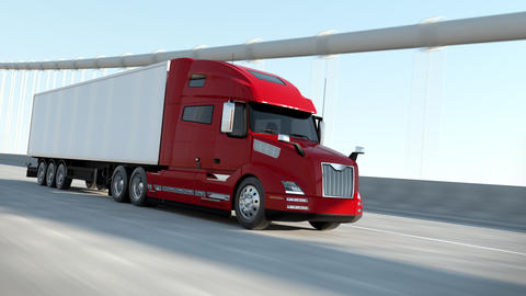 Red Modern Big Semi Truck with Cargo Trailer Route on Road Logistic Delivery 4k Animation