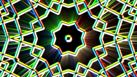 Chromatic Alien Grid Kaleidoscope Psychedelic Abstract Motion Background Loop 4 Animation