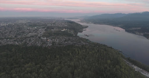 Aerial view of cityscape at dawn Footage