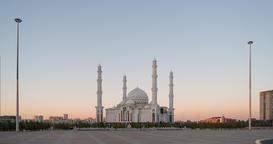 Hazrat Sultan Mosque change from day to night. Almaty, Kazakhstan. TimeLapse Footage