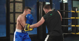 Boxer training punches defense in boxing club 4k video. Blows peek-a-boo trainer Footage