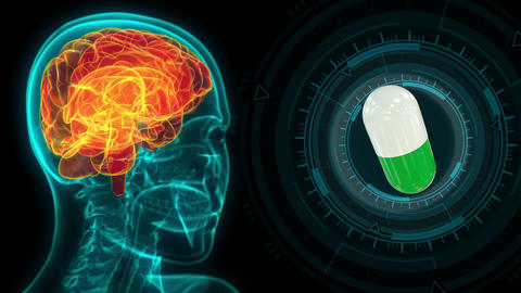 modern medical x ray human head image with brain and pill rotating Animation