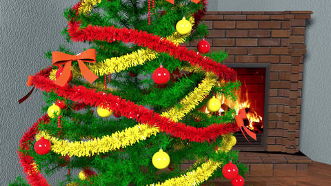 christmas scene with fireplace and tree. decorations and gifts for christmas. holiday atmosphere Animation