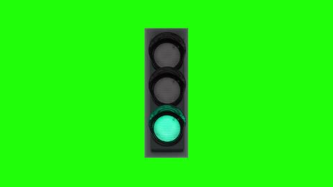 Panel of traffic lights with multicolored lamps on chromakey Animation