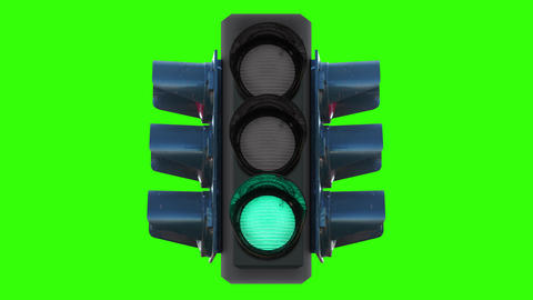 New traffic lights with changing color lamps on chromakey Animation