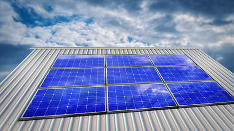 Modern solar panels with reflection of clouds on building Animation