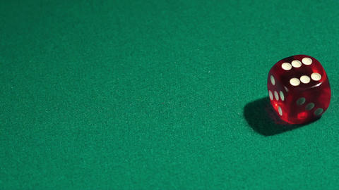Throwing dice in slow motion, gambling in casino. Winning combination, fortune Footage