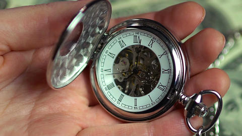 Closeup view of pocket watch in male hands, minutes of precious life passing by Footage