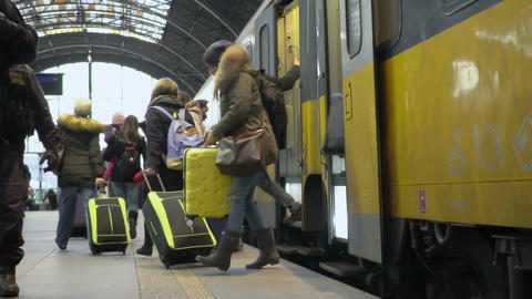 Slowmotion video of people coming out from modern train, traveling, tourism Footage