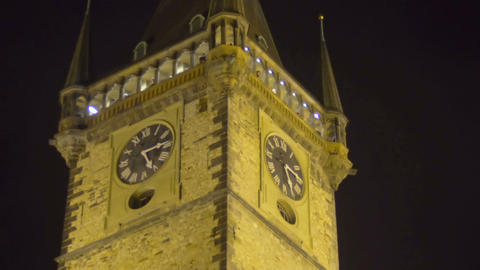 Famous astronomical clock in Prague, amazing night view, place of interest Live Action