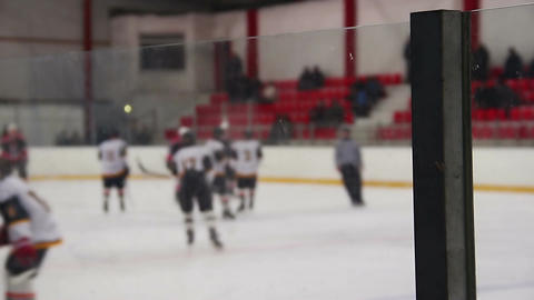 Ice hockey players shaking hands before match, referee starts the game, sport Footage