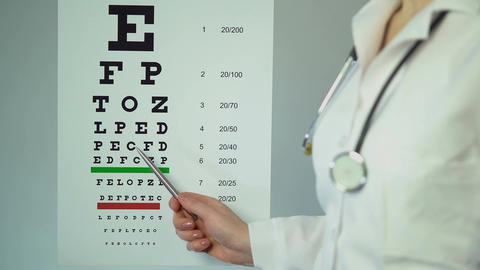 Eye doctor examining patient's eyesight, pointing at medical table with letters Footage
