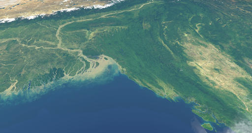 Delta of ganges river in planet earth, aerial view from outer space Animation