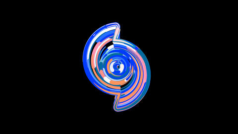 Circles gather in symbol hurricane. After it crumbles in a line and moves to the camera. Alpha Animation