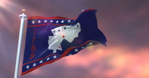 Flag of Washington county at sunset, state of Ohio, in United States - loop Animation