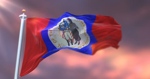 Flag of Wayne county at sunset, state of Michigan, in United States - loop Animation