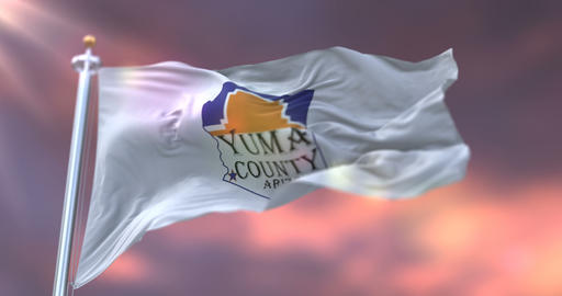Flag of Yuma county at sunset, state of Arizona, in United States - loop Animation