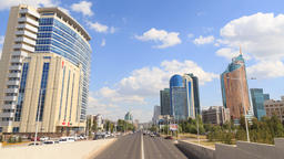 City traffic. Clouds over the city. Kunaev Avenue, Astana, Kazakhstan. Time Laps Footage