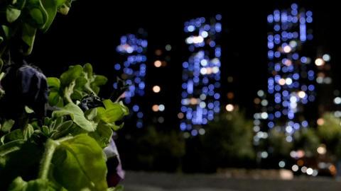 Night Lights Astana. Alternating focus. Kazakhstan Footage