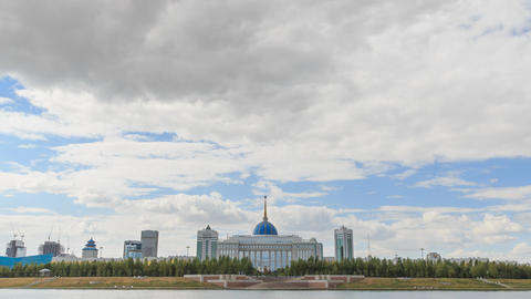 Akorda Palace of Independence. View from the river. Astana, Kazakhstan. HDR Time Footage