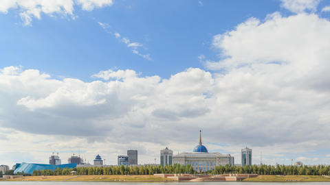Akorda Palace of Independence. View from the river. Astana, Kazakhstan. HDR. Pan Footage