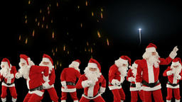 Bunch of Santa Claus Dancing with holiday fireworks display Animation