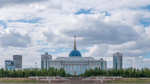 Akorda Palace of Independence. View from the river. Close-up. Astana, Kazakhstan Footage