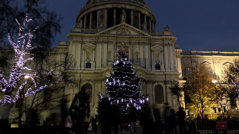 Time lapse. Night London. Bright Christmas tree in front of St. Paul's Cathedral Footage